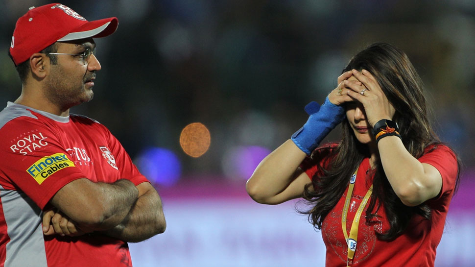 Preity  un happy with Sehwag