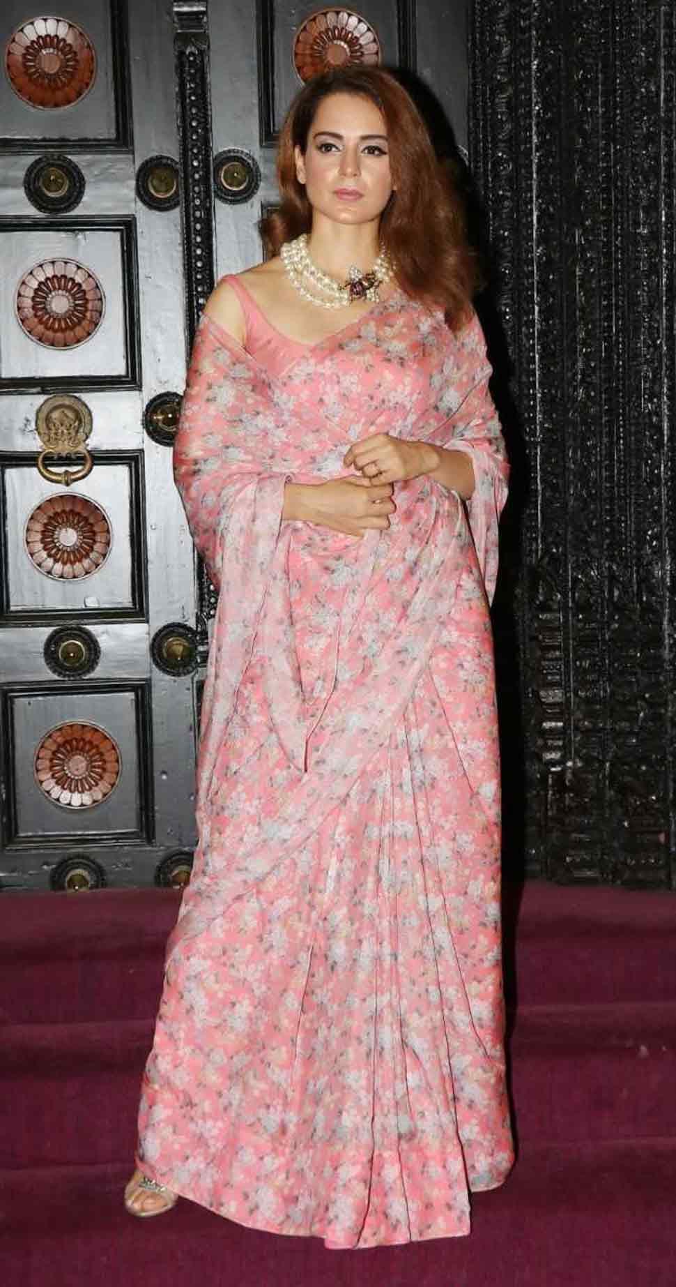 kangana ranaut wore a pink floral saree