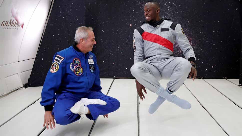 અંતરિક્ષયાત્રી સાથે ઉસેન બોલ્ટ
