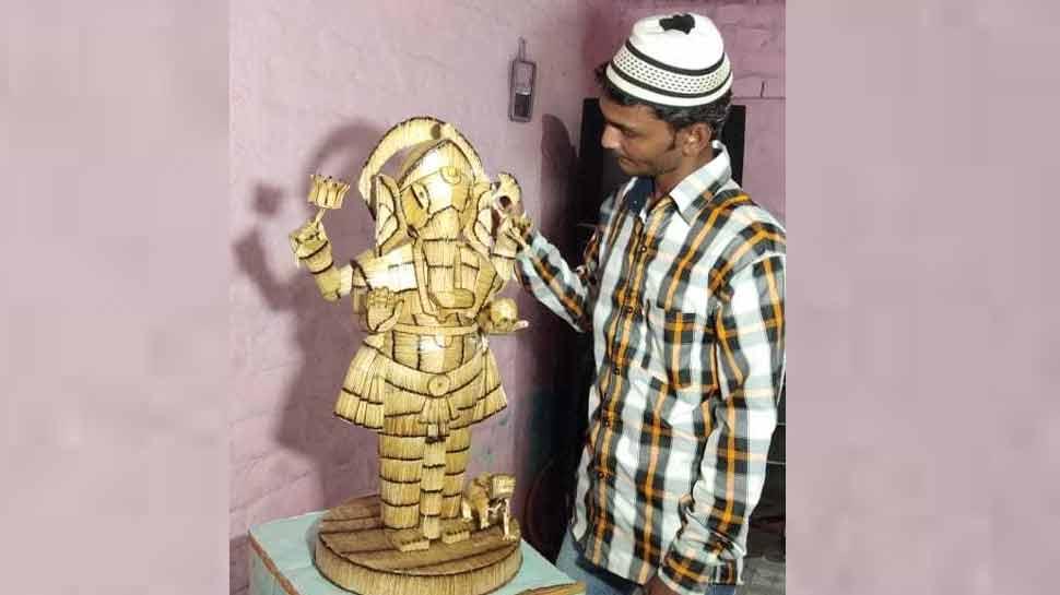 વડોદરાના મુસ્લિમ યુવાને માચિસની 12 હજાર સળીથી બનાવી ગણેશજીની અનોખી મૂર્તિ