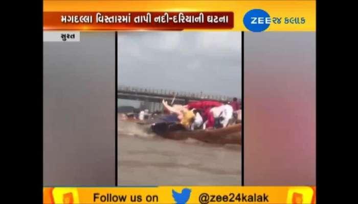 Boat fall in river during Ganpati Visarjan, Surat's video viral