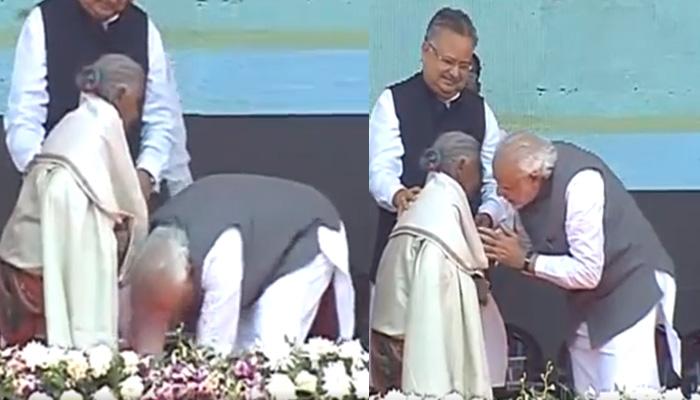 நெழ்ச்சி!! 104 வயது மூதாட்டி காலை தொட்டு வணங்கிய மோடி - வைரல் வீடியோ