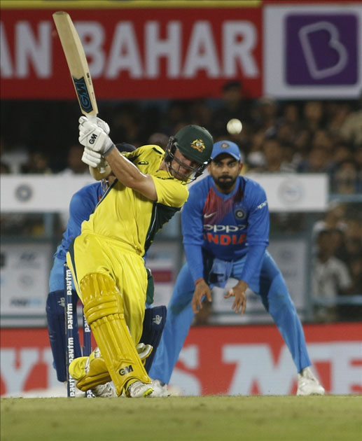 Travis Head of Australia in action during the second T20 match between India and Australia at Barsapara Cricket Stadium in Guwahati.