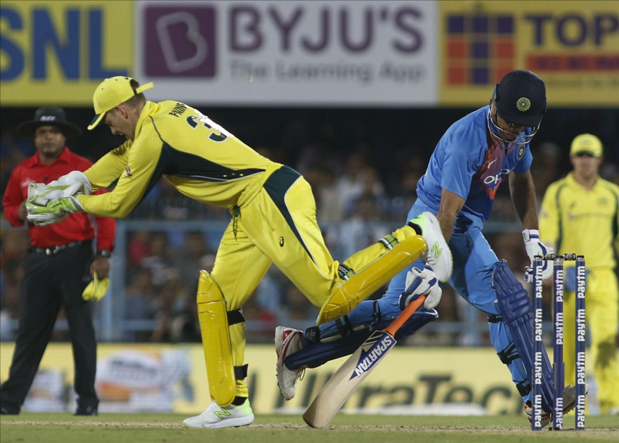 MS Dhoni of India during the second T20 match between India and Australia at Barsapara Cricket Stadium in Guwahati.
