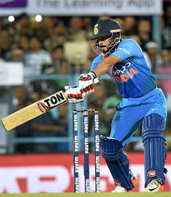 India`s Kedar Jadhav in action during the second T20 cricket match against Australia in Guwahati.