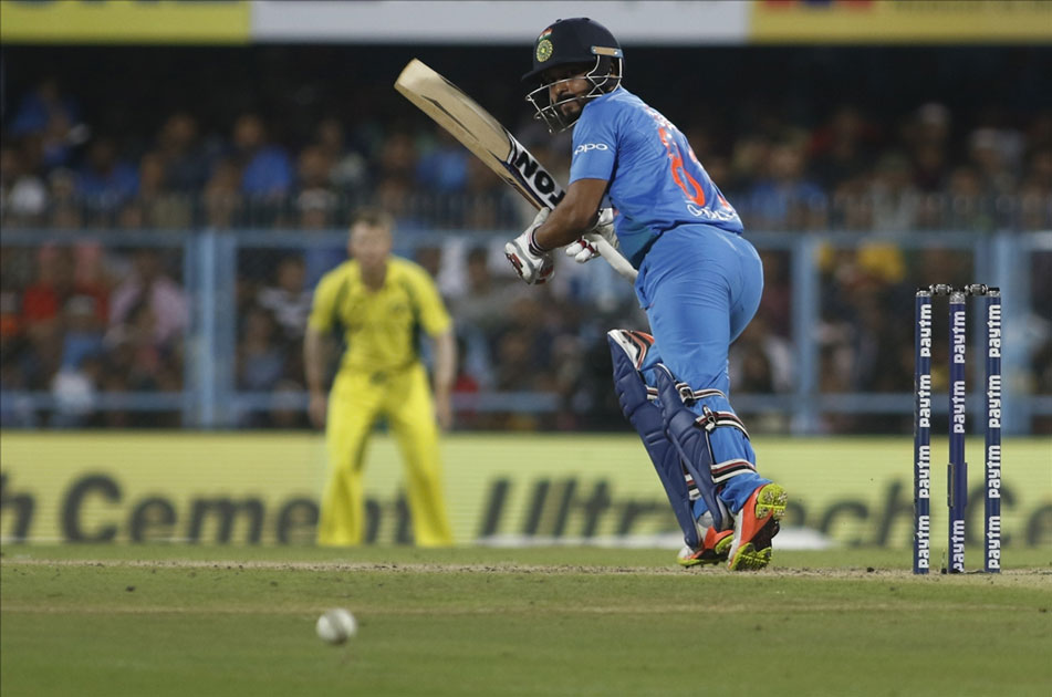 Indian batsman Kedhar Jadhav in action during the second T20 match between India and Australia at Barsapara Cricket Stadium in Guwahati.