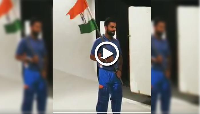 இந்திய கொடியுடன் கோலி: வைரல் வீடியோ!