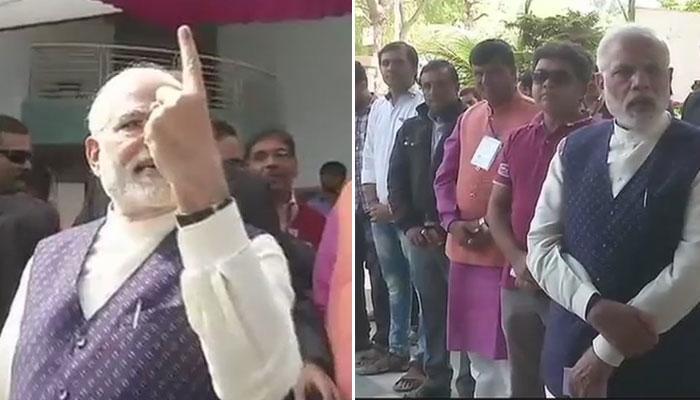 குஜராத் 2-வது கட்ட தேர்தல்: வருசையில் நின்று பிரதமர் மோடி வாக்களித்தார்!!