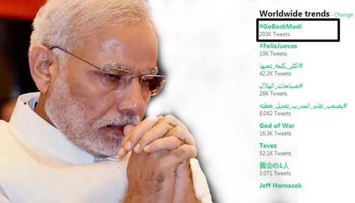 #GoBackModi : உலக அளவில் டிரெண்டான மோடி!!