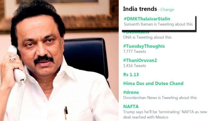 தேசிய அளவில் Twitter-ல் ட்ரெண்டாகும் DMK தலைவர் ஸ்டாலின்...!
